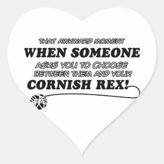 Diseños DE CORNUALLES divertidos de REX Pegatina En Forma De Corazón