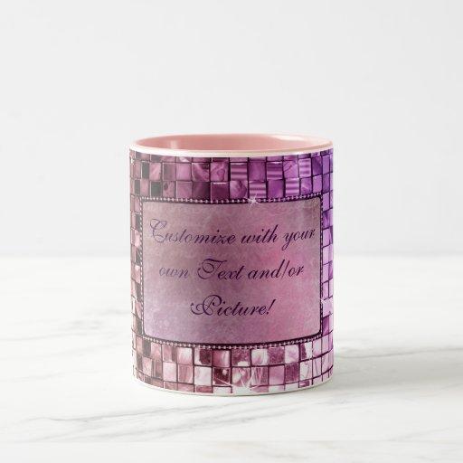 Diseños de encargo púrpuras chispeantes elegantes taza de dos tonos