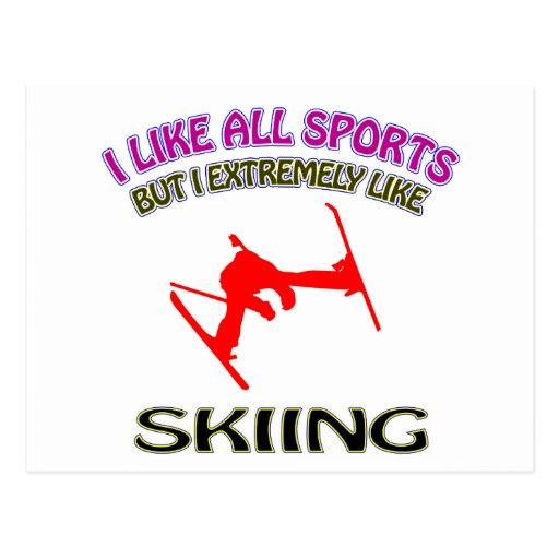 Diseños de esquí postales