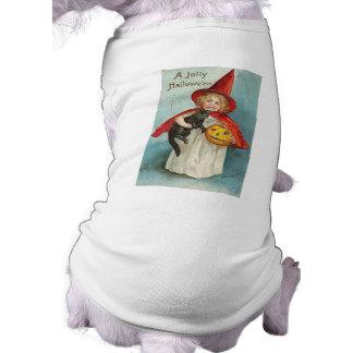 Diseños de Halloween de la bruja del vintage Prenda Mascota