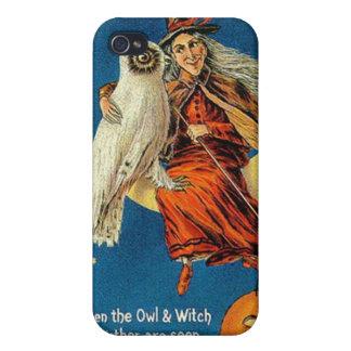 Diseños de Halloween de la bruja del vintage iPhone 4 Cárcasas