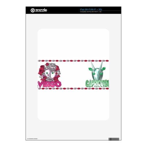Diseños de la amistad del Capricornio del virgo po Skin Para El iPad