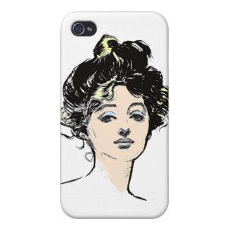 Diseños de la cabeza del chica de Gibson iPhone 4 Protector