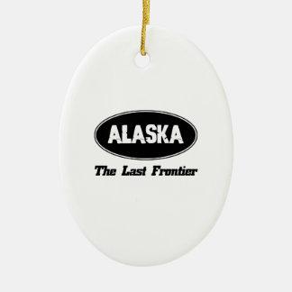 DISEÑOS de la ciudad de ALASKA Adorno Navideño Ovalado De Cerámica