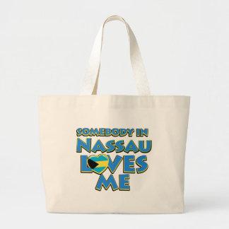 Diseños de la ciudad de la bandera de Nassau Bolsa Tela Grande