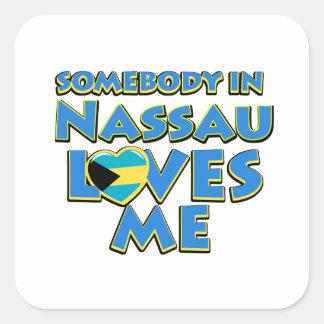 Diseños de la ciudad de la bandera de Nassau Pegatina Cuadrada