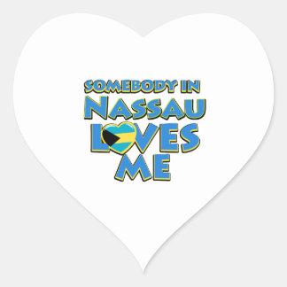 Diseños de la ciudad de la bandera de Nassau Pegatina En Forma De Corazón