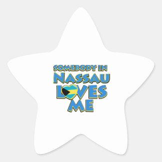 Diseños de la ciudad de la bandera de Nassau Pegatina En Forma De Estrella