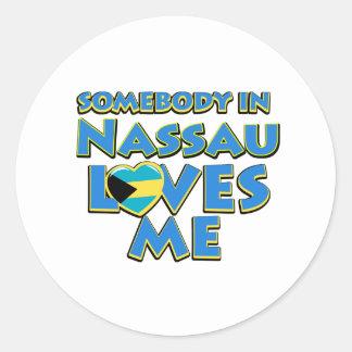 Diseños de la ciudad de la bandera de Nassau Pegatina Redonda