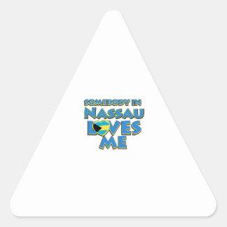 Diseños de la ciudad de la bandera de Nassau Pegatina Triangular