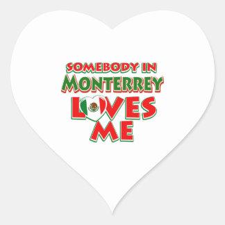 Diseños de la ciudad de Monterrey Pegatina En Forma De Corazón