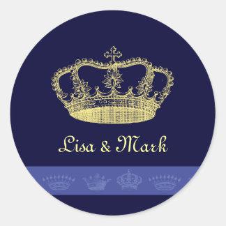 Diseños de la corona - azul pegatina redonda