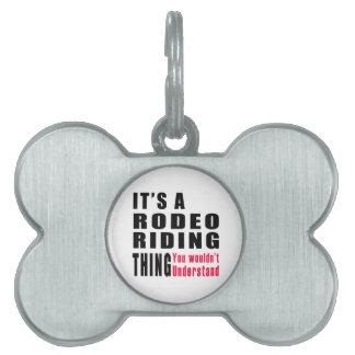 Diseños de la cosa del montar a caballo del rodeo placa de nombre de mascota
