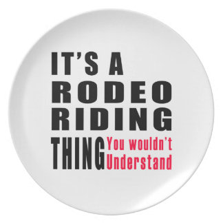 Diseños de la cosa del montar a caballo del rodeo plato de comida