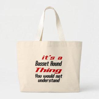 Diseños de la cosa del perro de Basset Hound Bolsa Tela Grande