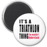 Diseños de la cosa del Triathlon Imán De Nevera