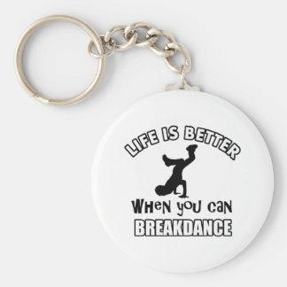 Diseños de la danza de Breakdance Llavero Redondo Tipo Pin