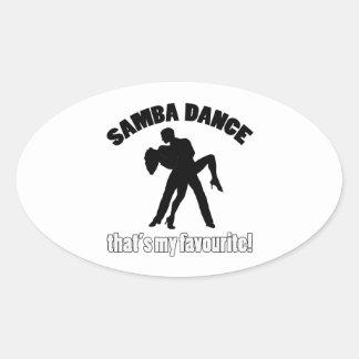 diseños de la danza de la samba pegatina ovalada
