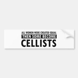 Diseños de la música de los violoncelistas etiqueta de parachoque
