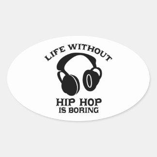 Diseños de la música del hip-hop pegatina ovalada