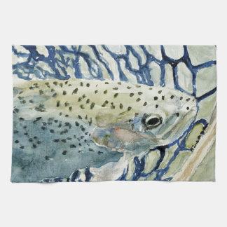 Diseños de la pesca de la captura y del lanzamient toallas de cocina