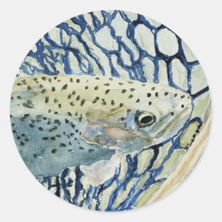 Diseños de la pesca de la captura y del pegatina redonda