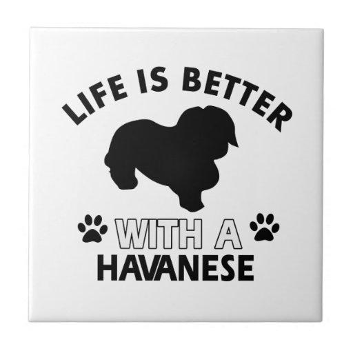 Diseños de la raza del perro de Havanese Teja Ceramica