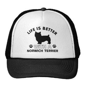 Diseños de la raza del perro de Norwich Terrier Gorros Bordados