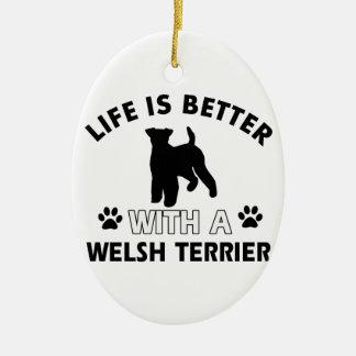 Diseños de la raza del perro de Terrier galés Adorno Navideño Ovalado De Cerámica
