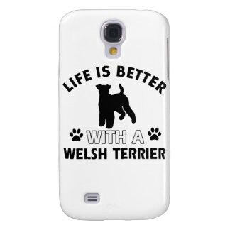 Diseños de la raza del perro de Terrier galés Funda Para Galaxy S4