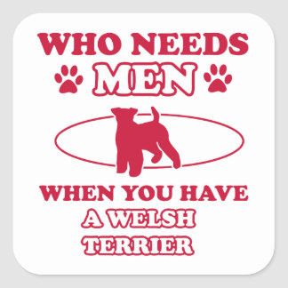 Diseños de la raza del perro de Terrier galés Pegatina Cuadrada