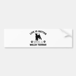 Diseños de la raza del perro de Terrier galés Pegatina Para Auto