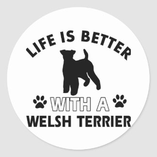 Diseños de la raza del perro de Terrier galés Pegatina Redonda