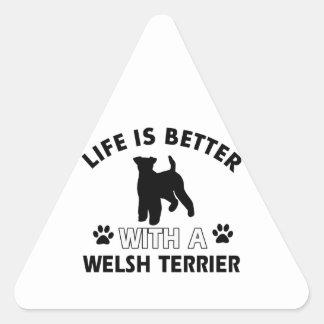 Diseños de la raza del perro de Terrier galés Pegatina Triangular