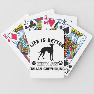 Diseños de la raza del perro del galgo italiano barajas de cartas