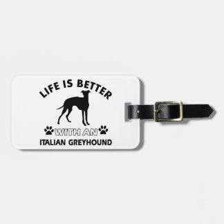 Diseños de la raza del perro del galgo italiano etiqueta para maleta