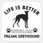 Diseños de la raza del perro del galgo italiano calcomania cuadrada personalizada