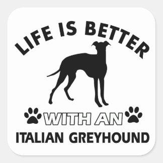 Diseños de la raza del perro del galgo italiano pegatina cuadrada