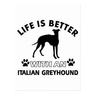 Diseños de la raza del perro del galgo italiano tarjeta postal