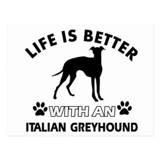 Diseños de la raza del perro del galgo italiano postales
