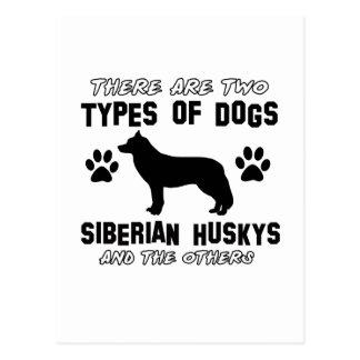Diseños de la raza del perro del husky siberiano tarjeta postal