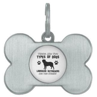 Diseños de la raza del perro del labrador placas de nombre de mascota