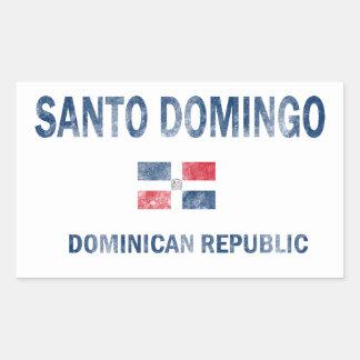 Diseños de la República Dominicana de Santo Pegatina Rectangular
