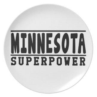 Diseños de la superpotencia de Minnesota Plato De Comida