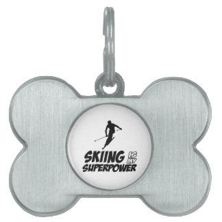Diseños de la superpotencia del esquí placas de mascota