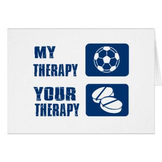 Diseños de la terapia del fútbol tarjeta de felicitación