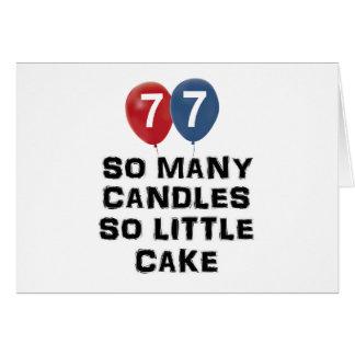 diseños de la vela de 77 años tarjeta de felicitación