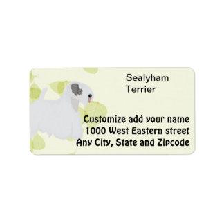 Diseños de las hojas del verde del ~ de Sealyham Etiqueta De Dirección
