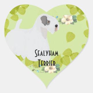 Diseños de las hojas del verde del ~ de Sealyham Pegatina En Forma De Corazón