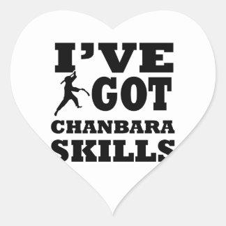 Diseños de los artes marciales de Chanbara Pegatina En Forma De Corazón